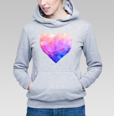 Геометрия любви - Толстовка Женская серый меланж 340гр, теплая, Купить толстовки победителей
