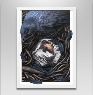 Ворон-страж - Постер в белой раме, сказки