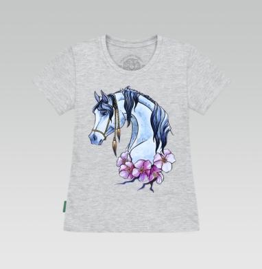Футболка женская серый меланж - Нарисованная лошадь)