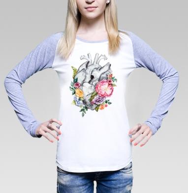 Футболка женская с длинным рукавом бело-серая - Расцветает любовь