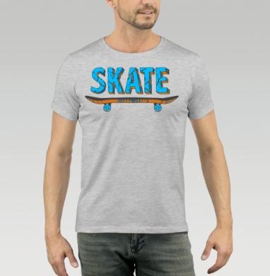 Футболка мужская серый меланж 200гр - Скейт
