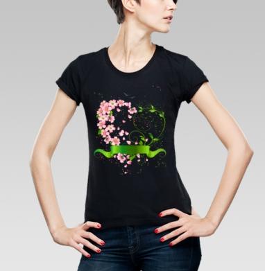 Футболка женская чёрная - Весеннее сердце из цветов яблони