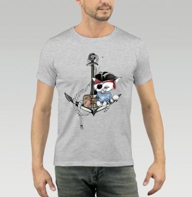 Футболка мужская серый меланж 200гр - Фидель маленький  пират