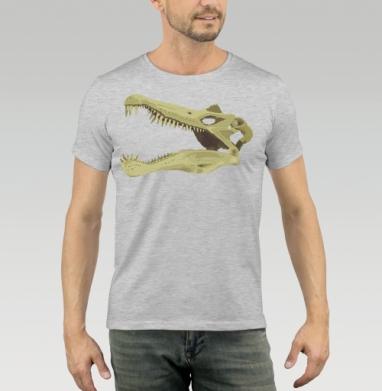 Футболка мужская серый меланж 200гр - Spinosaurus Skull