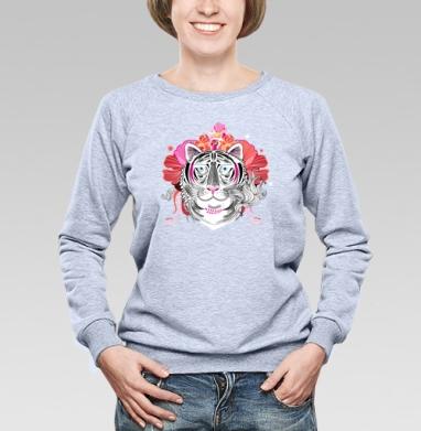 Цветочный узор с портретами тигров - Купить женские свитшоты с роами в Москве, цена женских свитшотов с розой с прикольными принтами - магазин дизайнерской одежды MaryJane