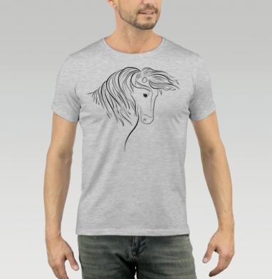 Футболка мужская серый меланж 200гр - Дикая лошадь