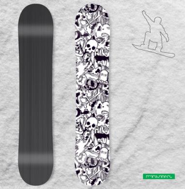 Серия Хэллоуин, черепа и кости, черный и белый - Сплошные наклейки сноуборд c черепами