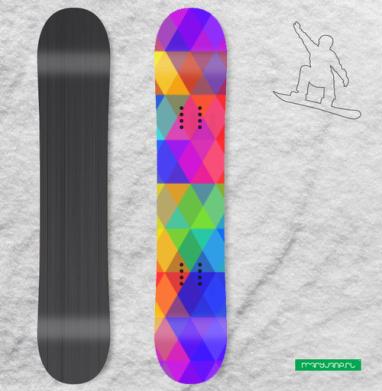 Яркий геометрический абстрактный фон - Наклейки на доски - сноуборд, скейтборд, лыжи, кайтсерфинг, вэйк, серф