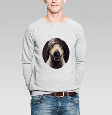 Бультерьер в каске - Купить мужские свитшоты с собаками в Москве, цена мужских свитшотов с собаками  с прикольными принтами - магазин дизайнерской одежды MaryJane