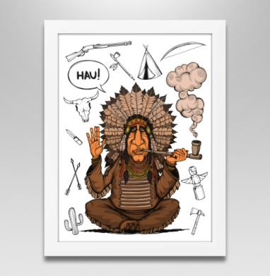 Вождь индейцев, Постер в белой раме