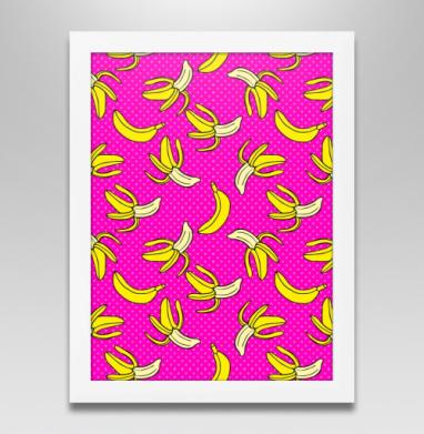 Сочный банановый паттерн, Постер в белой раме