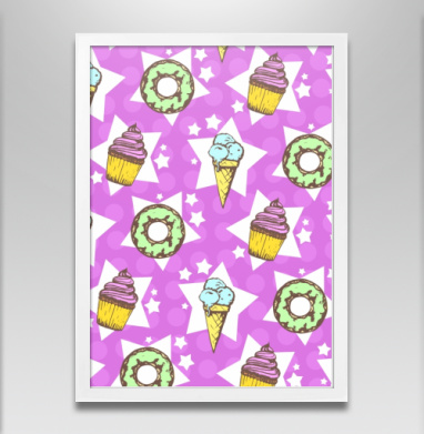 Сладкая поп культура - Постер в белой раме, мороженое