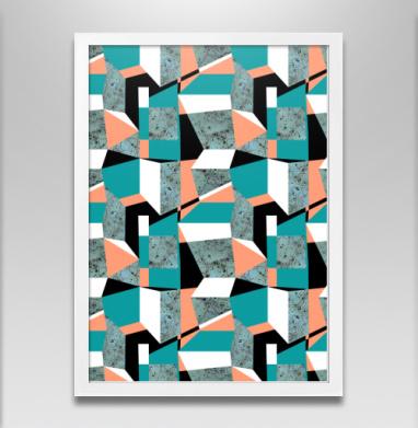 Геометрия цвета, оттенки зеленого - Постер в белой раме, геометрия