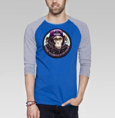 Обезьяна-меломан - Футболка мужская с длинным рукавом синий / серый меланж, акварель, Популярные