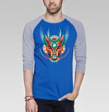 Дракон в геометрическом стиле - Футболка мужская с длинным рукавом синий / серый меланж, Хипстер
