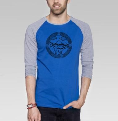 ГОРНЫЙ - Футболка мужская с длинным рукавом синий / серый меланж, горы, Популярные