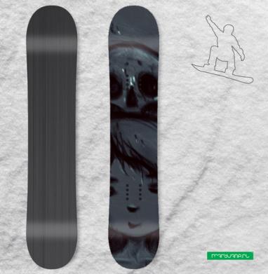 Девочка и черепа - Сплошные наклейки сноуборд c черепами