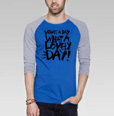 Прекрасный день - Футболка мужская с длинным рукавом синий / серый меланж, графика, Популярные