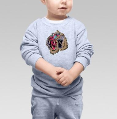 Cвитшот Детский серый меланж - Обезьяна Чи-чи-чи