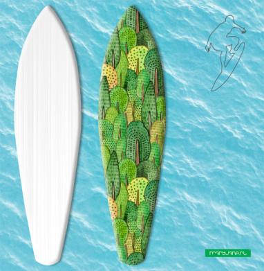 Акварельный лес - Наклейки на серф