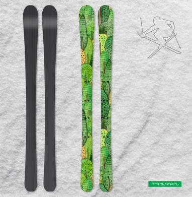 Акварельный лес - Наклейки на лыжи