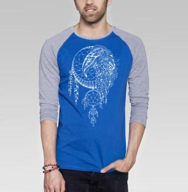 Хранитель снов. Сокол - Футболка мужская с длинным рукавом синий / серый меланж, Символ