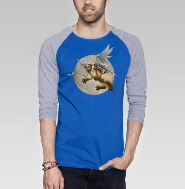 Крылокот - Футболка мужская с длинным рукавом синий / серый меланж, кошка, Популярные