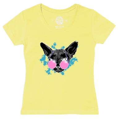 Футболка женская желтая - Сфинкс в розовых очках