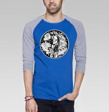 Санта Муэрте - Футболка мужская с длинным рукавом синий / серый меланж, текстура, Популярные