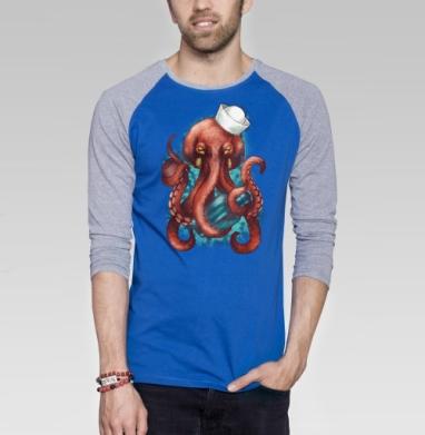 Осьминог Вилли - Футболка мужская с длинным рукавом синий / серый меланж, киты, Популярные
