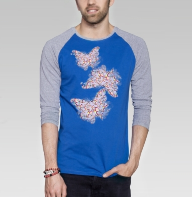 Бабочки мерцают - Футболка мужская с длинным рукавом синий / серый меланж, бабочки, Популярные