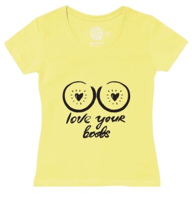 Футболка женская желтая - Люблю твои глаза