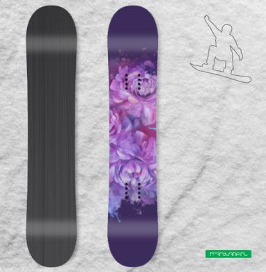 Сиреневые пионы - Наклейки на доски - сноуборд, скейтборд, лыжи, кайтсерфинг, вэйк, серф
