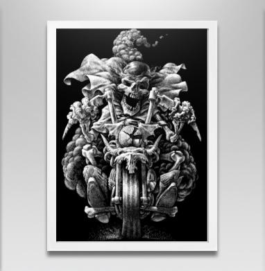 Призрачный гонщик - Постер в белой раме, мотоцикл