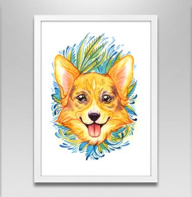 Акварельный вельш-корги - Постер в белой раме, собаки