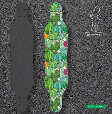Цветущее поле кактусов - Наклейки на лонгборд