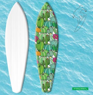 Цветущее поле кактусов - Наклейки на серф
