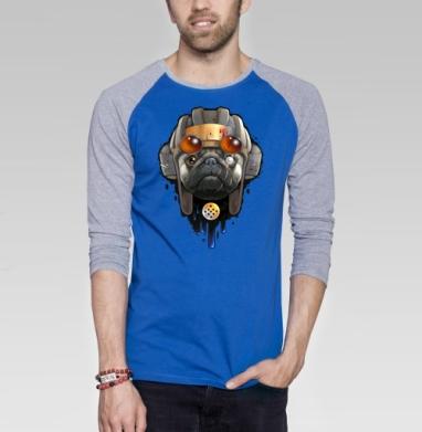 Пёс войны - Футболка мужская с длинным рукавом синий / серый меланж, собаки, Популярные