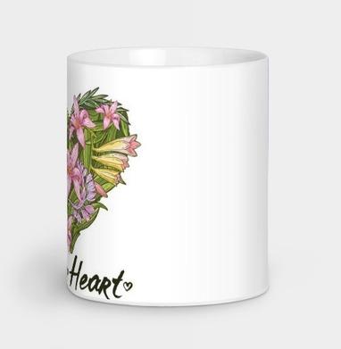 Сердце из тропических растений - серый, Новинки