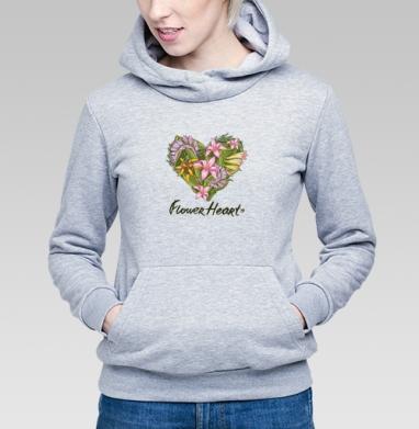 Сердце из тропических растений - Купить детские толстовки серые в Москве, цена детских толстовок серых с прикольными принтами - магазин дизайнерской одежды MaryJane