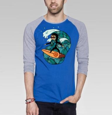 Сёрфер  - Футболка мужская с длинным рукавом синий / серый меланж, свобода, Популярные