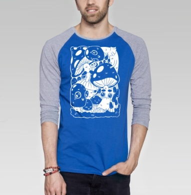 Глазастые грибы - Футболка мужская с длинным рукавом синий / серый меланж, графика, Популярные