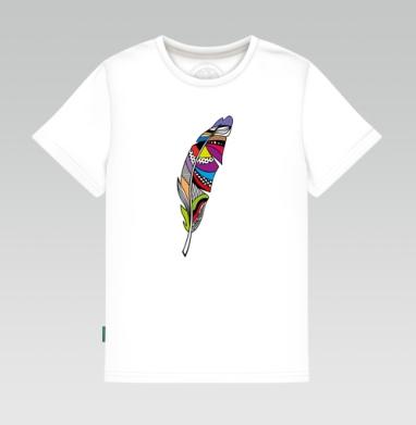 Детская футболка белая 160гр - Перо