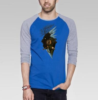Деревянная звезда - Футболка мужская с длинным рукавом синий / серый меланж, деревья, Популярные