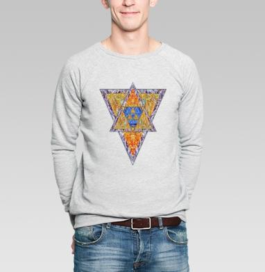 Свитшот мужской без капюшона серый меланж - Опутанный Треугольник