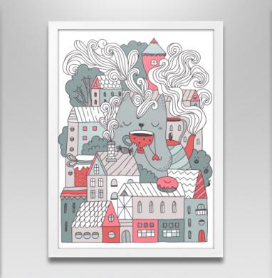 Таун типати - Постер в белой раме, город