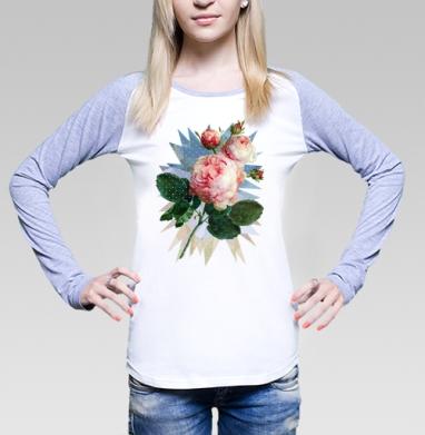 Розовая роза на геометрическом фоне, Футболка лонгслив женская бело-серая