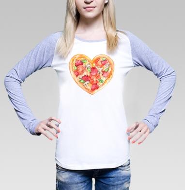 Пицца - это любовь, Футболка женская с длинным рукавом бело-серая