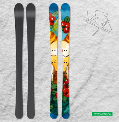 Медитирующий в бруснике баран - Наклейки на лыжи