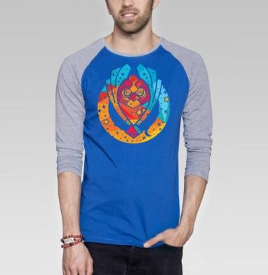 Звездная сова - Футболка мужская с длинным рукавом синий / серый меланж, Символ